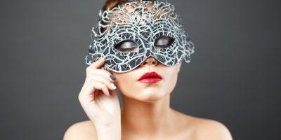 fashion photo of beautiful sexy girl in mask.