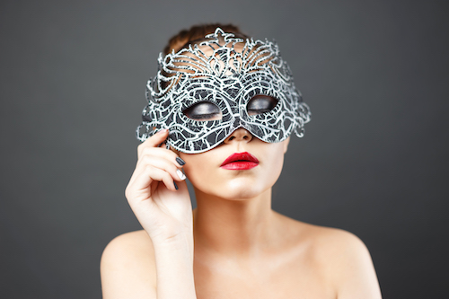 fashion photo of beautiful sexy girl in mask.